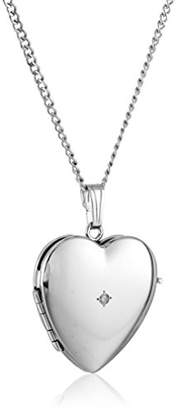 Sterling Diamond-Accented Four-Picture Heart Locket Necklace