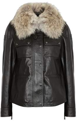 Belstaff Ocelot 2.0 Fur-trimmed Leather Jacket
