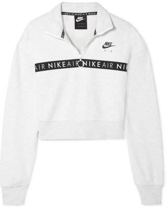 Nike Air Cropped Printed Cotton-blend Fleece Sweatshirt - Light gray