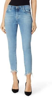 J Brand Alana Ripped Hem High Waist Ankle Skinny Jeans