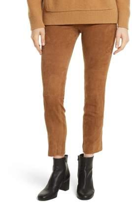 Vince Stretch Side Slit Cropped Suede Pants