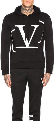 Valentino Logo Hoodie in Black & White   FWRD