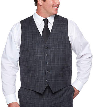 SHAQUILLE O'NEAL Shaquille ONeal XLG Gray Plaid Stretch Suit Vest - Big and Tall