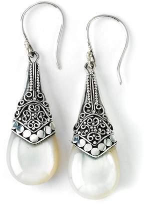 Mother of Pearl Samuel B Jewelry Sterling Silver Balinese Dot Design Drop Earrings