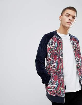 Asos Bomber Jacket With Quilted Velour & Floral Print