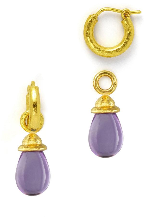 Elizabeth Locke 18k Gold & Amethyst Earring Pendants