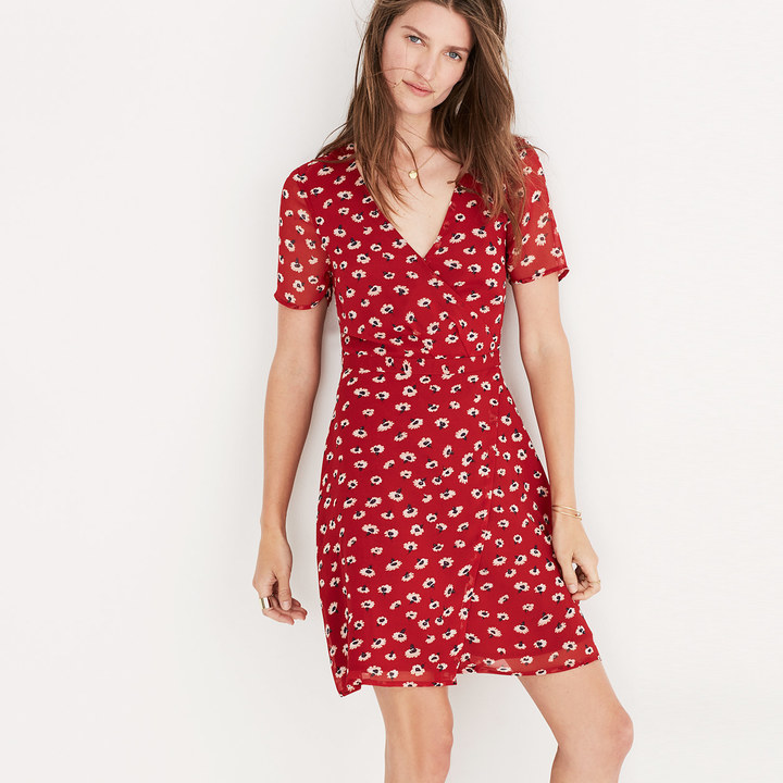 Wrap-Front Mini Dress in Seattle Floral