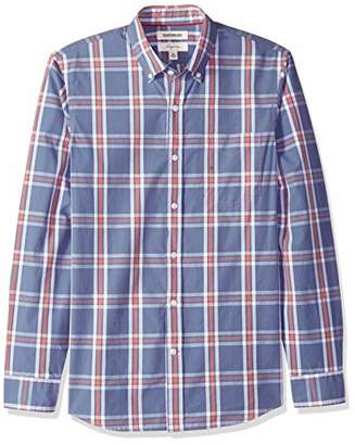 Goodthreads Men's Slim-Fit Long-Sleeve Plaid Poplin Shirt, -indigo large plaid, XX-Large
