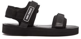 Ami Logo Neoprene And Canvas Sandals - Mens - Black