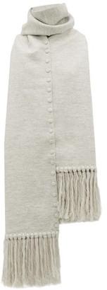 Jil Sander Fringed Press Stud Wool Scarf - Womens - Grey