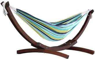 Vivere Double Cotton Hammock With Wooden Stand