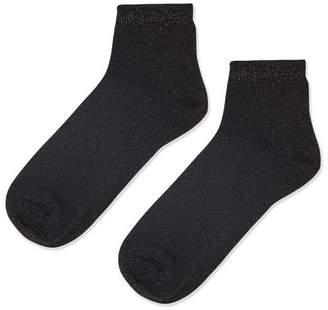Cropped glitter ribbed ankle socks