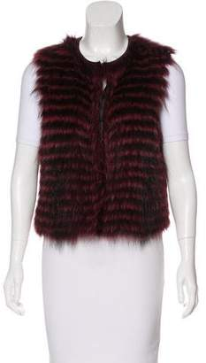 Theory Fur Striped Vest