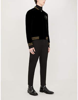Saint Laurent Sequin-embellished velvet bomber jacket