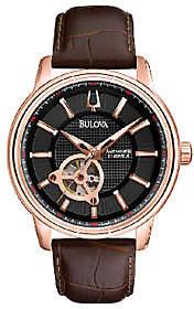 Bulova Men's Automatic Brown Leather Strap Watc