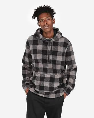 Express Checkered Sherpa Fleece Hoodie