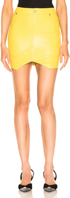 RtA Tempest Leather Skirt in Electric Yellow | FWRD
