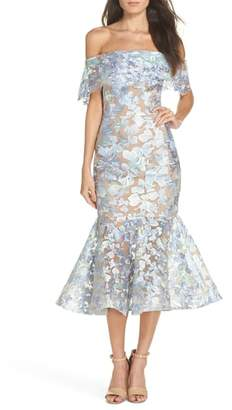 Bronx AND BANCO Butterfly Embroidered Off the Shoulder Mermaid Dress