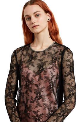 Alexander Wang Chain Trim Pleated Lace Dress