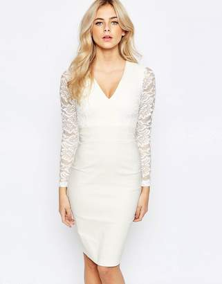 Vesper 2 in 1 Long Sleeved Lace pencil Dress $104 thestylecure.com