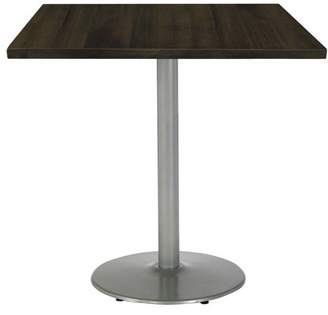"LOFT KFI seating KFI Urban 30"" Square Top Table, Espresso, Round Silver Base"