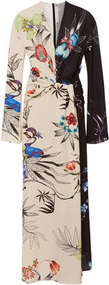 Etro Peggy Two-Tone Floral Crepe Maxi Dress