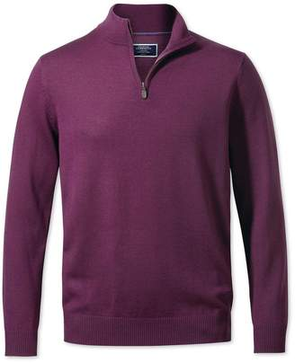 Charles Tyrwhitt Dark Purple Zip Neck Merino Wool Sweater Size XL