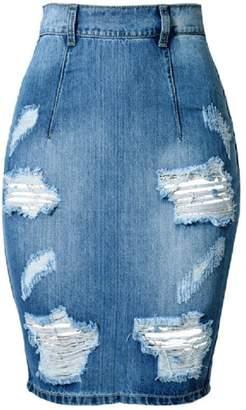 HotDresses Hot Dresses Women's Denim Skirt Slim Holes Sexy Plus Size Above Knee Short Dress