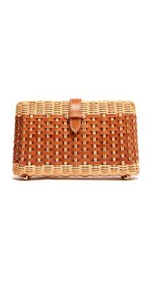 J.Mclaughlin Rylee Leather Weave Wicker Clutch