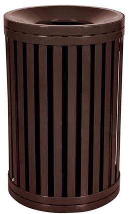 Ex-Cell Kaiser LLC Ex-Cell Kaiser SCTP-40 COF 45 Gallon Streetscape Classic Outdoor Trash Receptacle with Swing Door, Brown