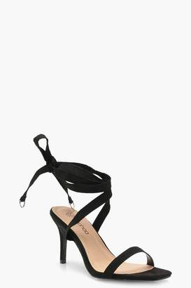 boohoo Wide Fit Wrap Strap Two Part Heels
