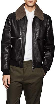 Valentino MEN'S SHEARLING-TRIMMED LEATHER BOMBER JACKET
