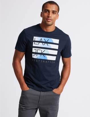 Marks and Spencer Slim Fit Printed Crew Neck T-Shirt