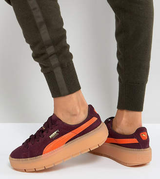 37e7e1af8f26 Puma Trace Platform Sneakers In Burgundy And Orange