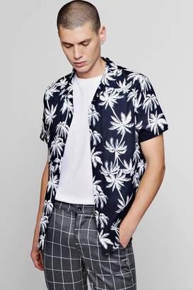 boohoo Short Sleeve Palm Print Revere Shirt