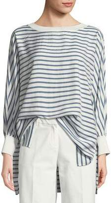 Lafayette 148 New York Joplin Showcase Striped Micro Silk Blouse