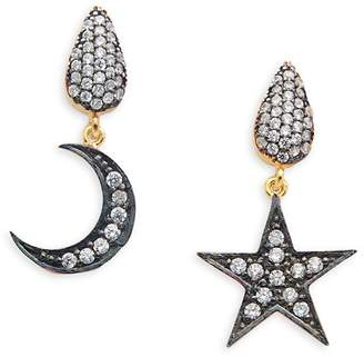 Azaara Women's Crystal and Sterling Silver Moon and Star Drop Earrings