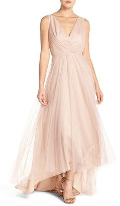 Women's Monique Lhuillier Bridesmaids Pleat Tulle V-Neck High/low Gown $290 thestylecure.com