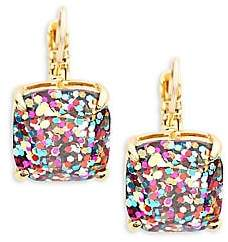 Kate Spade Women's Small Square Glitter Leverback Earrings