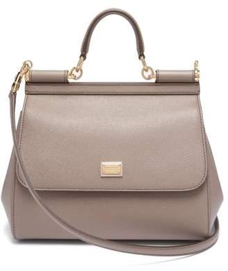 Dolce   Gabbana Sicily Medium Dauphine Leather Bag - Womens - Light Grey 5e178651f1ab7