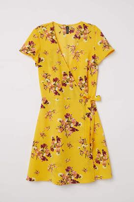 H&M Patterned Wrap-front Dress - Yellow/floral - Women