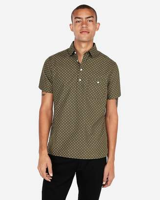Express Slim Micro Print Short Sleeve Popover Shirt