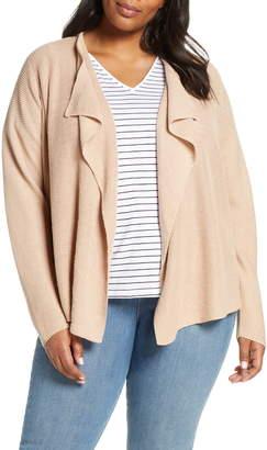 Eileen Fisher Drape Front Linen & Cotton Cardigan