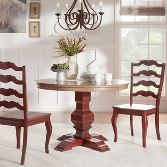 """Weston Home 3-Piece 45"""" Round Dining Set, Oak and Berry Red Table with Oak French Ladder Back Chairs"""