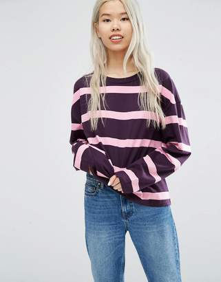 Weekday Stripe Panel Long Sleeve T-shirt $28 thestylecure.com