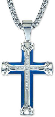 """Esquire Men's Jewelry Diamond Cross 22"""" Pendant Necklace (1/10 ct. t.w.) in Ion-Plated Stainless Steel, Created for Macy's"""