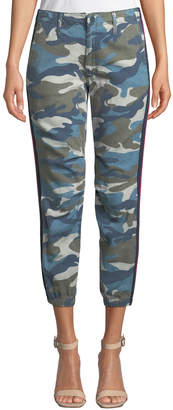 Mother Misfit Camo-Print Racer Stripe Cropped Pants