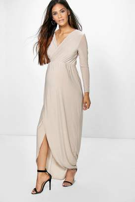 boohoo Maternity Lucy Wrap Front Maxi Dress