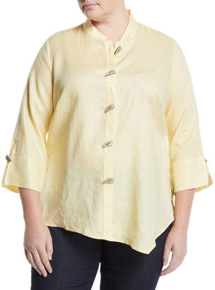 Go Silk Asymmetric Linen Button-Front Blouse, Plus Size