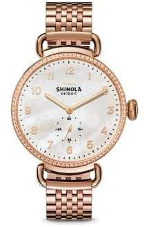 Shinola Canfield Diamond, Mother-Of-Pearl& Rose Goldtone Stainless Steel Bracelet Watch